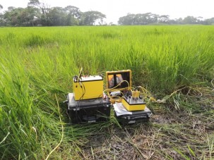 Our resistivity meter set up in a rice field.  We were able to collect data at the cost of very muddy legs.