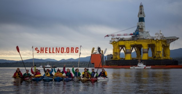 Kayaktivists greet Shell's Arctic Drilling Rig in the Port Angeles, Washington.