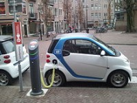 An electric car charging station in Amsterdam. Photo: Wikimedia Commons