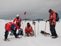 Jamie Collins, a research colleague of Jeff Bowman, measures ice thickness outside Palmer Station in Antarctica. The ice was about 70 cm thick. Photo: Jeff Bowman