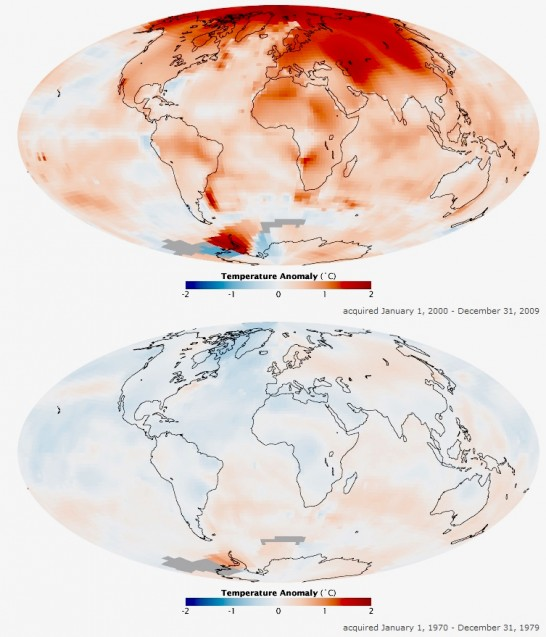 The difference in average surface temperatures from 1970-79 (bottom) to 2000-09 (top) due to global warming. Photo: NASA