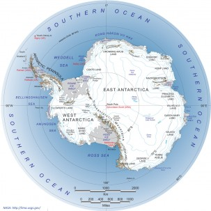 Map of Antarctica, via NASA