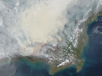 Fires on the island of Borneo are visible from space. (Photo: NASA)