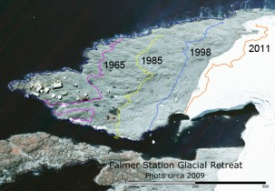 Glacier retreat near Palmer Station, Antarctica. (US Antarctic Program)