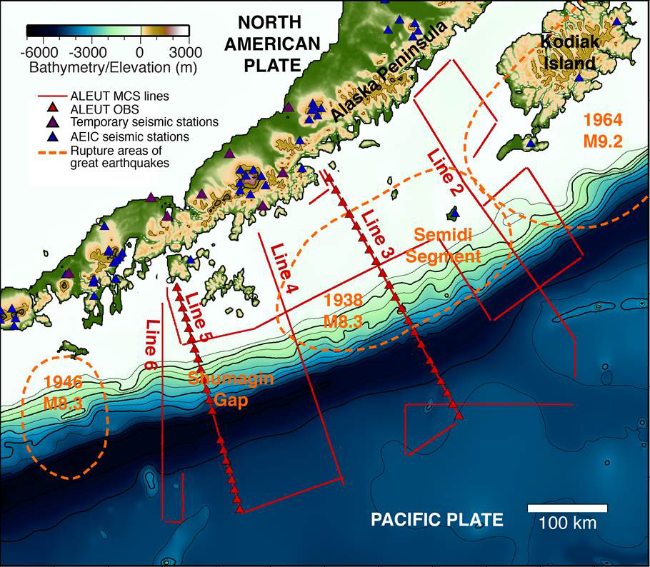 To map the subduction zone, scientists run multi-channel seismic streamers to capture 3D images of the land below.
