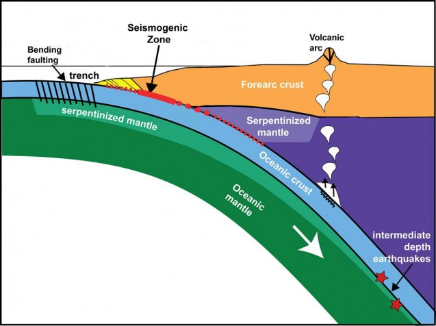 Off the Alaska Peninsula, the Pacific tectonic plate is bending beneath the North American plate. As it bends, ancient faults in certain areas are moving again and contributing to earthquakes in two ways, a new study shows. (Shillington, modified from Oleskevich et al., 1999)