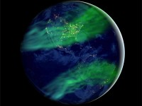 Artistic impression of latitudinally more widespread auroras under a geomagnetic field much weaker than today's. (Huapei Wang, with source files courtesy of NASA's Earth Observatory/NOAA/DOD)