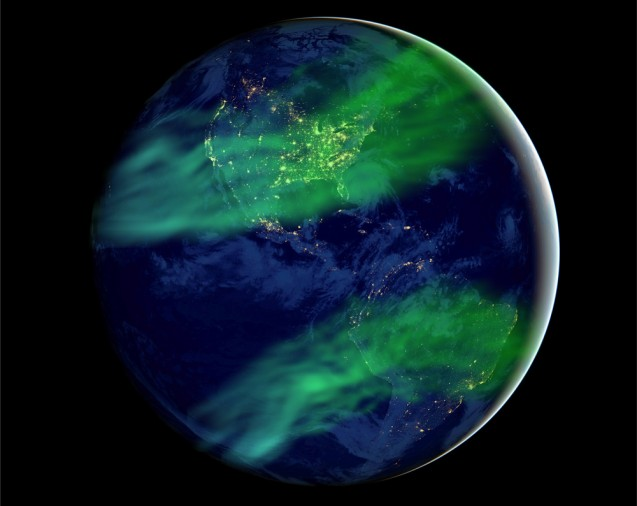 Artistic impression of how auroras could be more widespread under a geomagnetic field much weaker than today's. (Huapei Wang, with source files courtesy of NASA's Earth Observatory/NOAA/DOD)