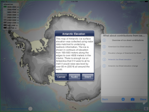 Map and explanation of Antarctica's elevation. Polar Explorer: Sea Level app