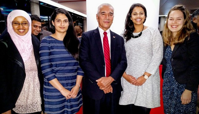 Students from the University of Waterloo in Canada had a breakfast meeting with the Kiribati delegation and met the island nation's president, Anote Tong, on Dec. 6. From left: Kadra Rayale, Rija Rasul, Tong, Vidya Nair and Laura Maxwell.
