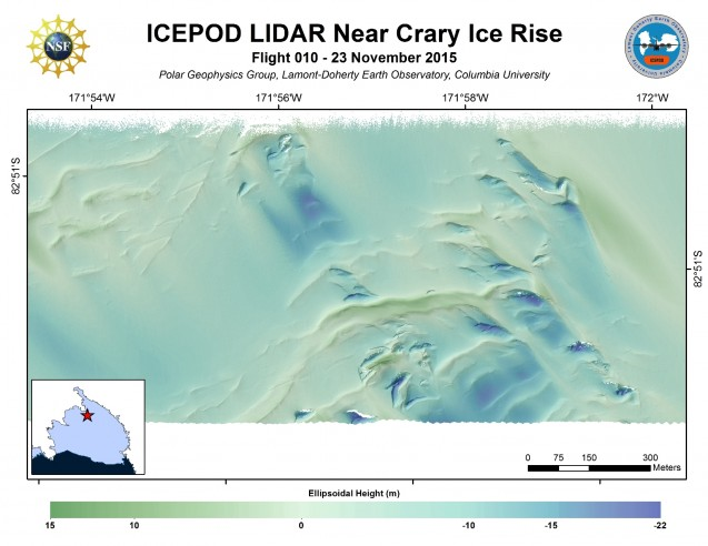 Crary Ice Rise, Ross Ice Shelf, Antarctica (processed by S. Starke)
