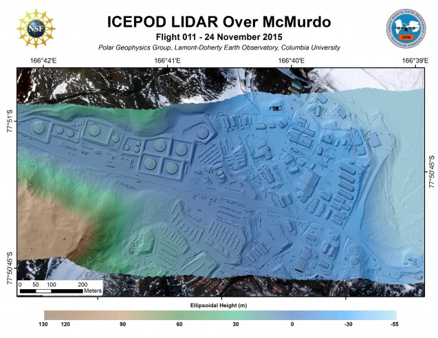McMurdo Base, Antarctica imaged with LiDAR. (processed by S. Starke)