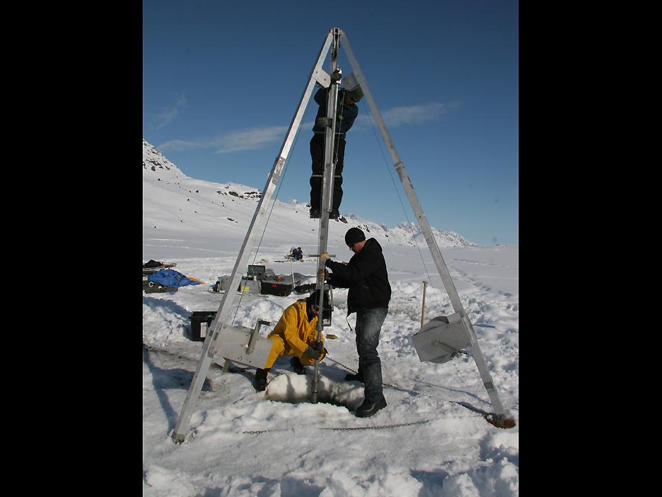 Retrieving a sediment core