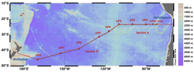 The cruise track and sampling stations for the FS Sonne.