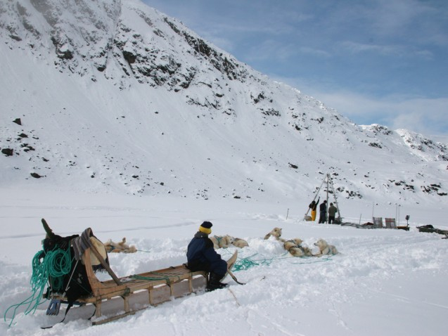 To study the advance and retreat of glaciers, scientists extracted sediment cores from the bottom of glacier-fed Kulusuk Lake in Greenland.  (Photo courtesy of William D'Andrea)
