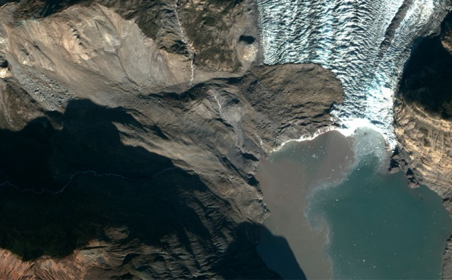 A 200 million ton landslide landed on the toe of Tyndall Glacier and in the water of Taan Fiord on Oct. 17 local time in Icy Bay, Alaska. It was detected by seismologists on the other side of the country. (Geospatial support provided by the Polar Geospatial Center. Imagery Copyright 2015 DigitalGlobe, Inc.)