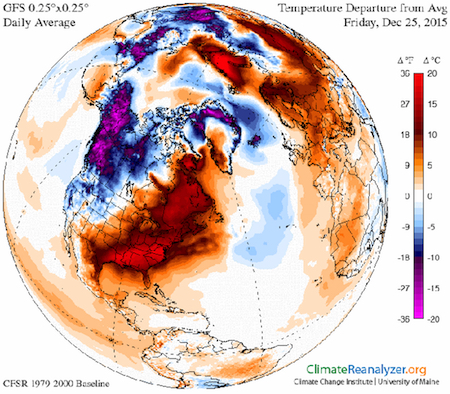 Temperature departure from average for Dec. 25, 2015. Note the swath of red colors across the eastern U.S. indicating much warmer than average temperatures. From University of Maine's Climate Change Institute.
