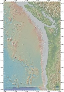 The seafloor off the northwest coast of the United States and southwest Canada. From the Marine Geoscience Data System.
