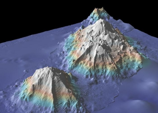 Sea mounts near the Hawaiian Islands, from the Marine Geoscience Data System. Images of the mountains and nearby seafloor are derived from sonar readings taken by research ships; the less sharp areas around them are from satellite readings.
