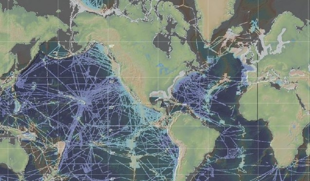 A map showing the tracks of research vessels where more detailed imagery of the seafloor is available. From the Marine Geoscience Data System site.