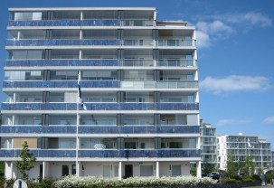 Solar panels on eco housing in Helsinki, Finland