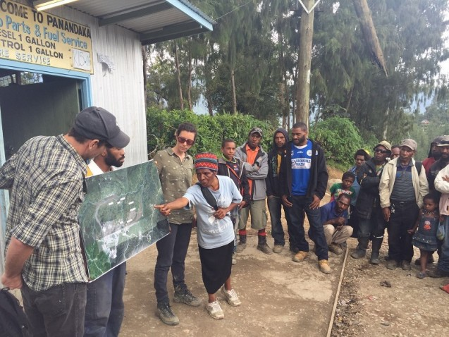 Left: EPS Faculty/Earth Institute Research Scientist Joshua Fisher and Professor Sarah Knuckey from the Columbia Law School work with a translator to explain the results of an independent environmental assessment during a community consultation in December 2015.