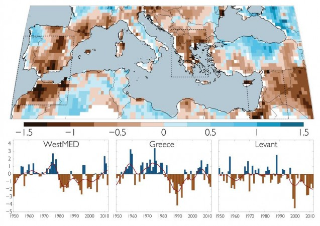 A new study looks at recent droughts across the Mediterranean in the context of the past 900 years. The map and charts above, from the Old World Drought Atlas, highlight three regions and their recent years of unusual dryness (brown) and wetness (blue). From Cook, et al., 2016.