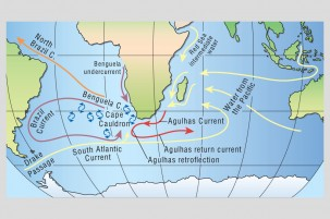 A map of the Agulhas Current, which the scientists of Expedition 361 are studying along with southern Africa's climate history. (Courtesy of Arnold Gordon)