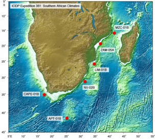 Expedition 361's coring sites. APT is the Agulhas Plateau. NV is the Natal Valley.