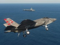 A F-35C stealth fighter, similar to one linked to sonic booms off New York, New Jersey and Connecticut. Its top speed is said to be 1,200 miles per hour. (Lockheed Martin)