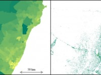 Figure of two images. The one of the left shows 2015 estimates of population density of a coastal region in Kenya from CIESIN's Gridded Population of the World, version 4 (GPWv4), which is based on census data. On the right, New Facebook estimates of population density in the same coastal region in Kenya. This allocation, which is derived from processing of third party satellite imagery and incorporates GPWv4, provides a higher resolution map of population distribution.