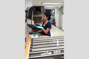 Nambiyathodi Lathika, a physical properties specialist from India's National Centre for Antarctic and Ocean Research, enters core data at the sample table. (Jens Gruetzner)