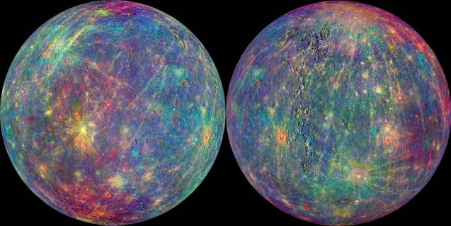 Data from MESSENGER was used to map the rugged landforms and spectral variations on Mercury's surface. Image Credit: NASA/Johns Hopkins University Applied Physics Laboratory/Carnegie Institution of Washington