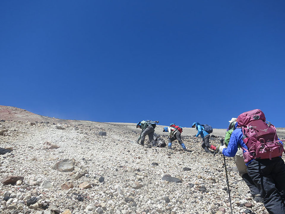 The final climb to Quizapu's 10,000-foot-high rim is a heartbreaker: thin air, extreme slopes, loose rubble. One scientist later admitted to crying on the way up.