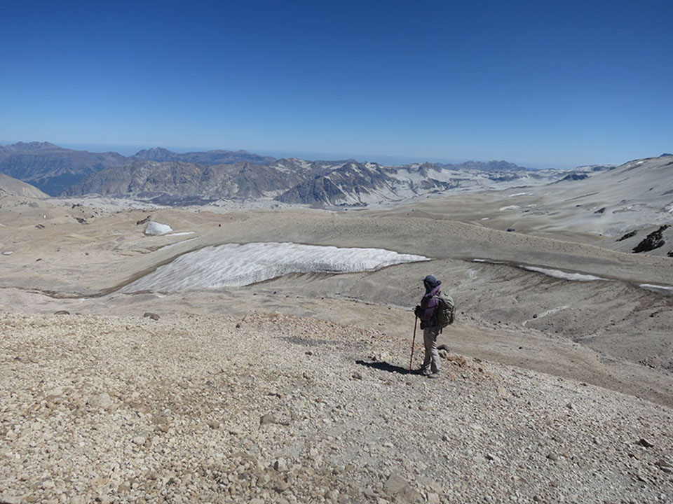 View from below the crater rim, on the way back to camp. Even in summer, snowfields dot the high elevations.