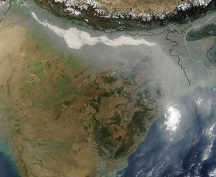 Haze over northern India, mostly from biomass burning and urban air pollution. Photo: NASA