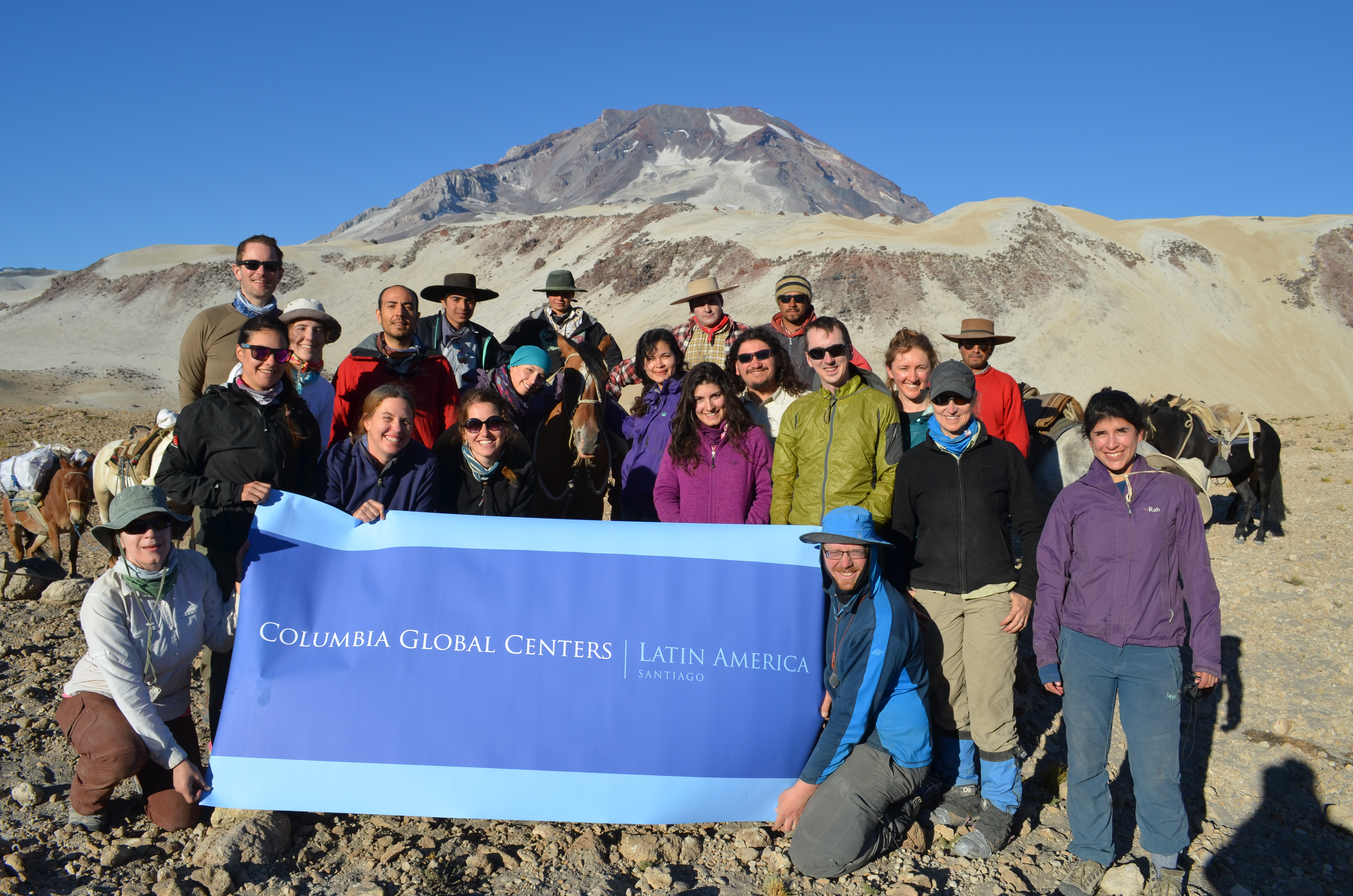 Near the foot of Descabezado Grande, a group shout-out to the Columbia Global Centers, which facilitated the expedition.