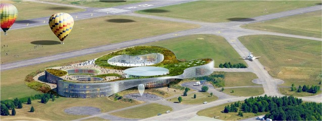 A rendering of Climate City, the first research center solely dedicated to climate change, in Lorraine, France, at a former NATO airport. Architect: Agence d'Architecture A. Béchu