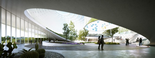 A rendering of the Climate City entrance Hall. ©Agence d'Architecture A. Béchu