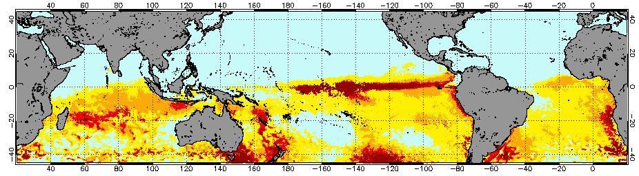 "NOAA's <a href=""http://coralreefwatch.noaa.gov/satellite/index.php"">Coral Reef Watch</a> regularly updates a map of bleaching risk areas. This is the map from March 2, 2016."