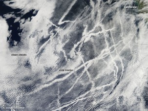 Ship tracks over the Pacific, formed when water vapor condenses around ship emissions. Photo: NASA