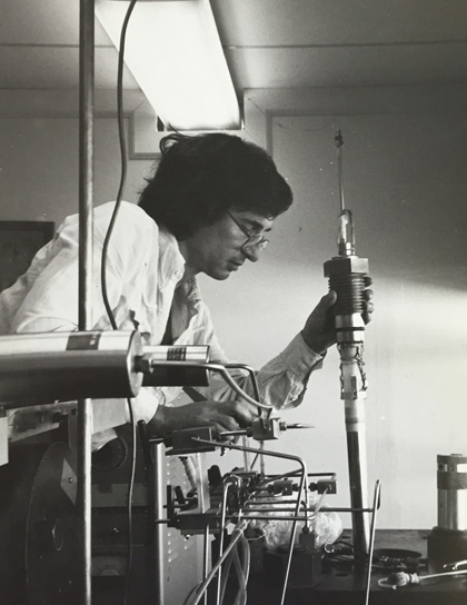 Scholz in the early years of the Rock Mechanics Lab at Lamont. Photo: Lamont Rock Mechanics Lab