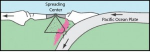 Schematic of the Lau Back-arc system showing the subduction zone and its influence on spreading centers. After Tivey et al., 2012