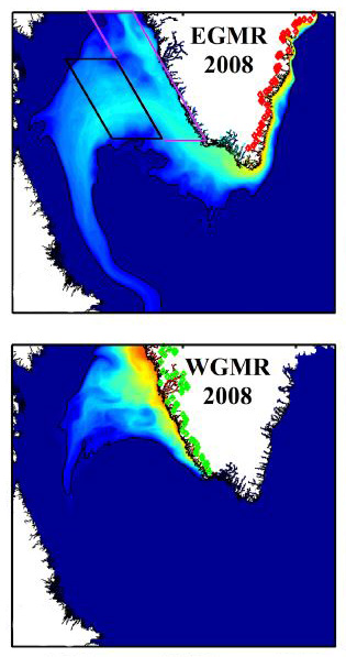 Tracers released in 2008 with meltwater runoff at the red and green dots show where meltwater flowed after leaving Greenland's East (EGMR) and West (WGMR) coasts. Image: Luo et al., 2016