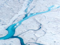 Meltwater rivers on the greenland ice sheet. M. Tedesco/Columbia University