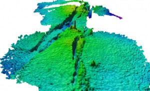 Bathymetry from the Kilo Moana vent field, mapped in 2005. Each grid cell in this image is 25 cm. Image: SOI/Dr. V. Ferrini
