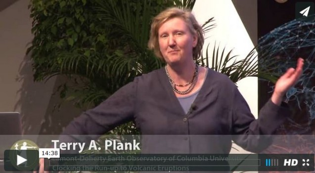 """Terry Plank spoke about """"clocking the run-up to volcanic eruptions"""" in this video from August 2014."""