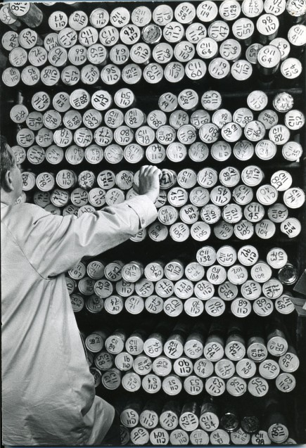 Tubes containing deep-sea sediment cores housed in the Lamont Core Repository. (Lamont-Doherty Earth Observatory)