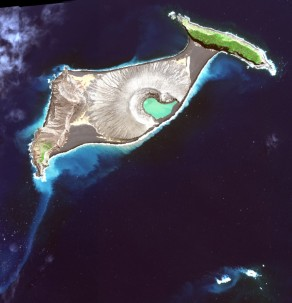 A satellite view of the new island. Photo: NASA