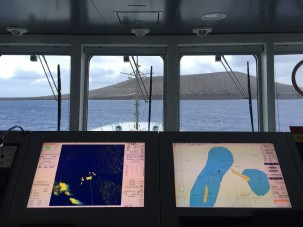 From the bridge of the R/V/ Falkor, looking out at Hunga Tonga Hunga Ha'apai. Photo: Colleen Peters